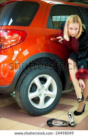 Attractive Young White Girl Changing Shoes Stock Photo 24498049