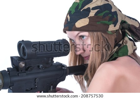Attractive young woman aiming sniper rifle. Isolated over white - stock photo