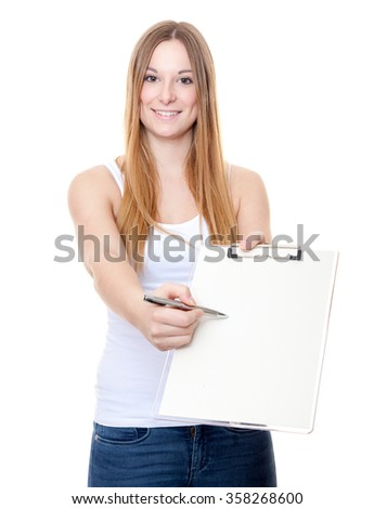 Attractive young woman doing survey. All on white background. - stock photo