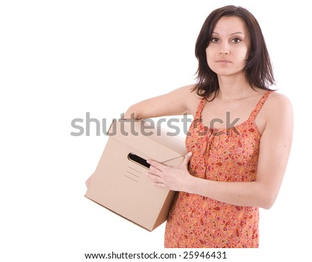 attractive young woman  from dark hair with cardboard box