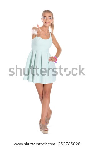 Attractive young woman full length portrait isolated on white background. - stock photo