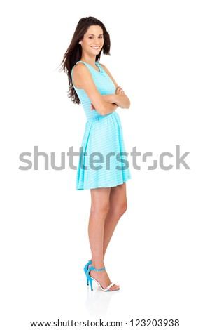 attractive young woman full length studio portrait isolated on white - stock photo