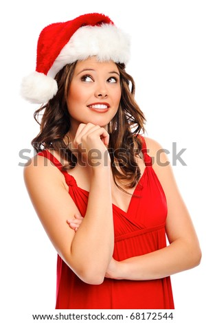 Attractive young woman getting into the festive mood