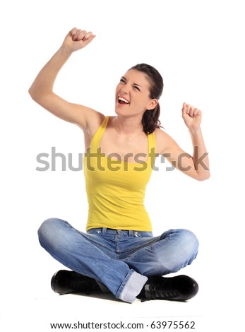 Attractive young woman having fun. All on white background. - stock photo