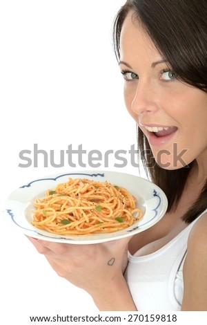Attractive Young Woman Holding a Plate of Italian Style Spaghetti Pasta Food - stock photo