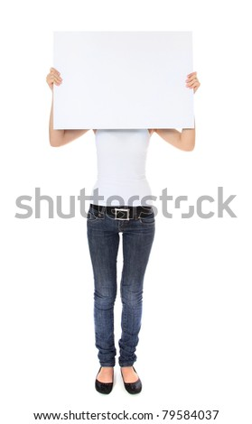 Attractive young woman holding blank sign in front of her head. All on white background. - stock photo
