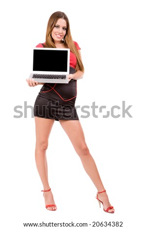 Attractive young woman holding laptop. - stock photo