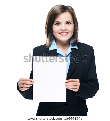 Attractive young woman in a black jacket. Holds a poster. Isolated on white background