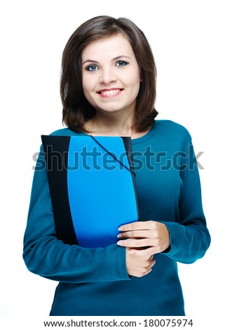 Attractive young woman in a blue shirt. Holding folder. Isolated on white background