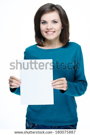 Attractive young woman in a blue shirt. Holds a poster. Isolated on white background