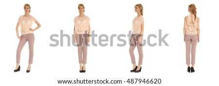 Attractive young woman in pink pants on white
