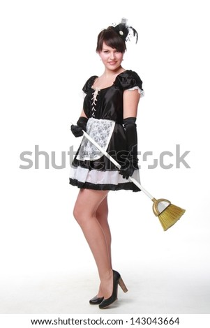 Attractive young woman in sexy costume on white background