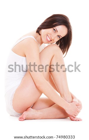 attractive young woman in white underwear sitting on floor