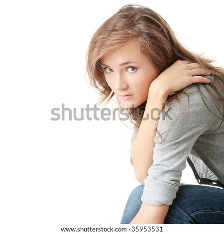 Attractive young woman is disappointed