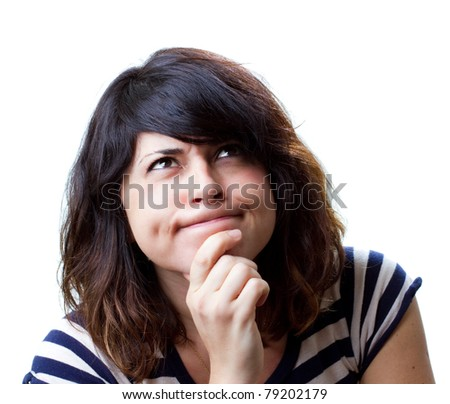 Attractive young woman making a decision