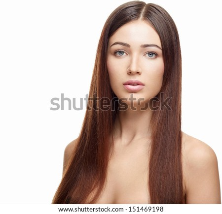 Attractive young woman on a white background - stock photo
