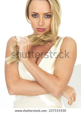 Attractive Young Woman Playing With Her Hair - stock photo