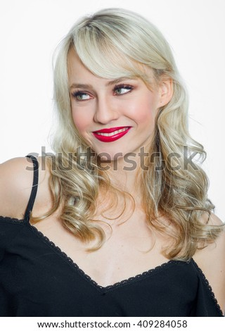attractive young woman portrait making happy expression