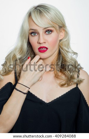 attractive young woman portrait making surprised expression