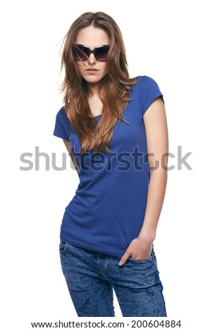 Attractive young woman posing in sunglasses, over white background - stock photo