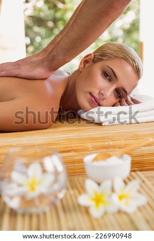 Attractive young woman receiving back massage at spa center