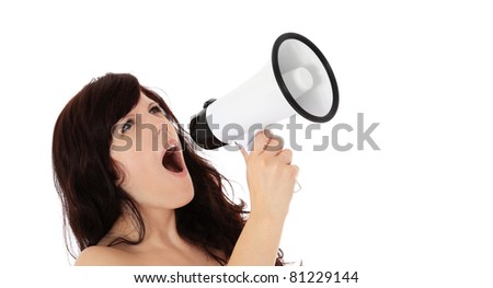 Attractive young woman shouting through megaphone. All on white background.