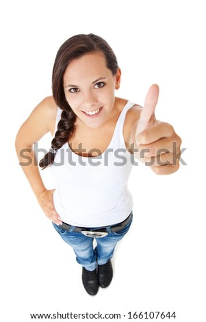 Attractive young woman shows thumbs up. All on white background. - stock photo