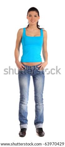 Attractive young woman standing. All on white background. - stock photo