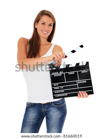 Attractive young woman using clapperboard. All on white background. - stock photo