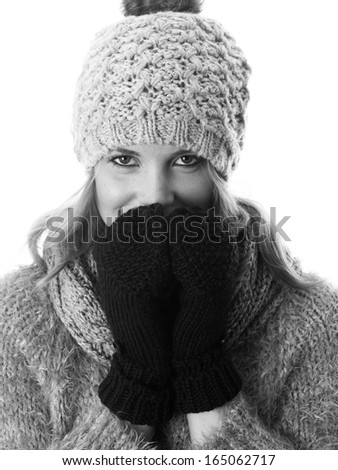 Attractive Young Woman Wearing Woolen Hat and Gloves