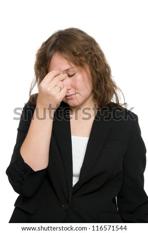 attractive young woman wit headache over white