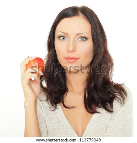 Attractive young woman with apple - healthy eating - stock photo
