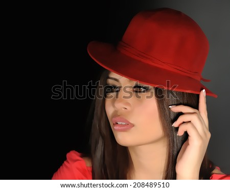 Attractive young woman with red hat - stock photo