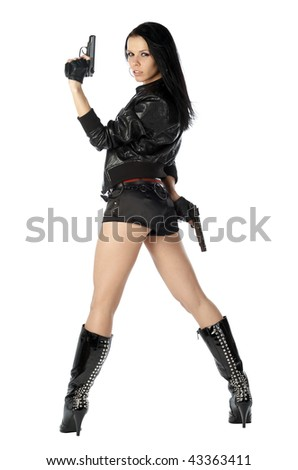 Attractive young women holding weapons. Action girl posing back isolated on white background.