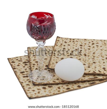 Attributes of Jewish Passover Seder celebration - stock photo