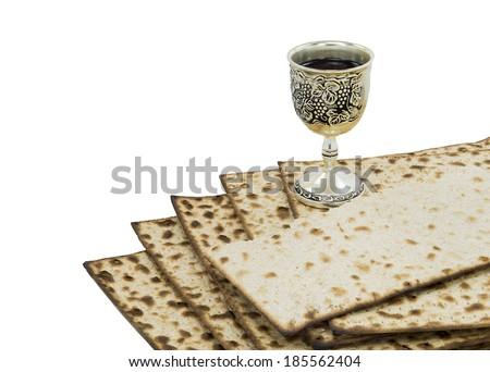 Attributes of Jewish Passover Seder Holidays, isolated on white background - stock photo