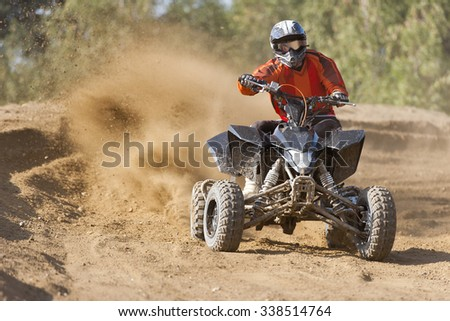 ATV Rider in the action - stock photo