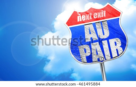 au pair, 3D rendering, blue street sign