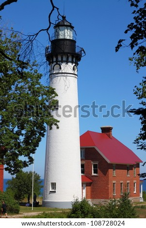 Au Sable Light Station Pictured Rocks National Lakeshore in Michigan-closeup - stock photo