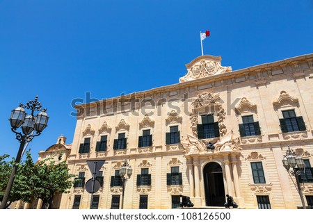 Auberge de Castille in Valletta, Malta - office of the Prime Minister of Malta - stock photo