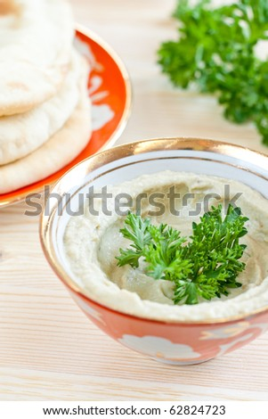 Aubergine and tahina dip, popular in the Mediterranean and Arab regions.