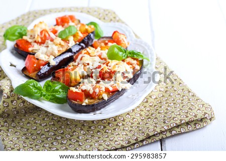 Aubergine and tomato melts served on plate