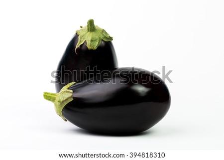 Aubergine or Eggplant vegetable isolated on white background  - stock photo