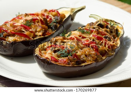 Aubergine stuffed with vegetables