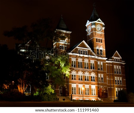 AUBURN, AL- SEPT. 4: Facade of Samford Hall at night on the campus of Auburn University in Auburn, Alabama, on Sept. 4. 2012. The building is an icon for the school with more than 25,000 students. - stock photo