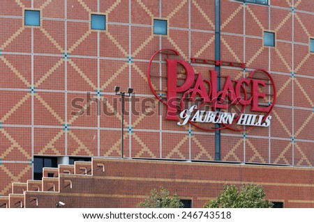 AUBURN HILLS, MI - JULY 31: The Palace of Auburn Hills in Auburn Hills, MI on July 31, 2014. The Palace of Auburn Hills is a multipurpose sports arena and is home to the Detroit Pistons of the NBA. - stock photo