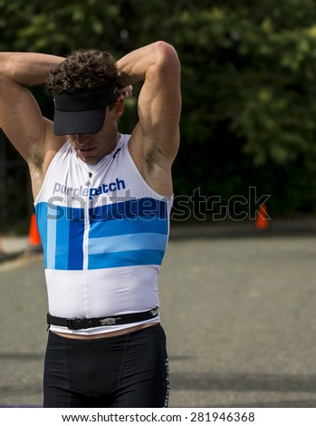 Auburn - May 17: A runner who is disappointed in his performance on May 17, 2015 in Auburn, California.