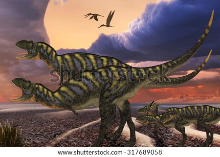 Aucasaurus Dinosaurs - Parental Aucasaurus dinosaurs defend their youngsters from a passing predator in their territory as Zhenyuanopterus reptile birds fly nearby. - stock photo