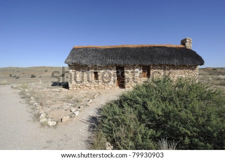 auchterlonie museum in the kgalagadi transfrontier park  housed in a restored farm dwelling  circa 1914. the area was settled to provide guards against  possible german invasion from south west africa