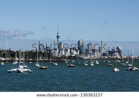 AUCKLAND - APR 26:Auckland skyline from Hobson bay on April 26 2013.It's NZ's largest city with almost 400,000 people living within the city's boundary and 1.18 million in the greater Auckland area